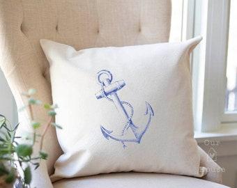 Anchor Pillow Cover - Decorative Pillow - Pillow Covers - Coastal Decor - Ocean Decor