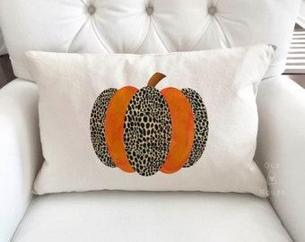 Leopard Pumpkin Fall Pillow Cover - Fall Decor - Pumpkin Pillow Cover - Autumn Decor - Farmhouse Decor - Farmhouse Pillow