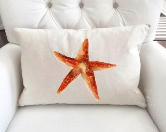 Starfish Pillow Cover - Decorative Pillow - Pillow Covers - Coastal Coral Decor - Ocean Decor