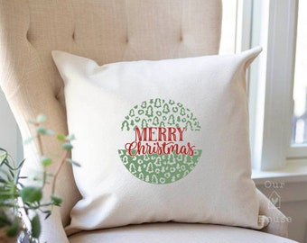 Christmas Pillow Cover, Leopard Christmas, Merry Christmas Christmas Pillow Cover- Farmhouse Christmas - Farmhouse Decor - Farmhouse Pillow