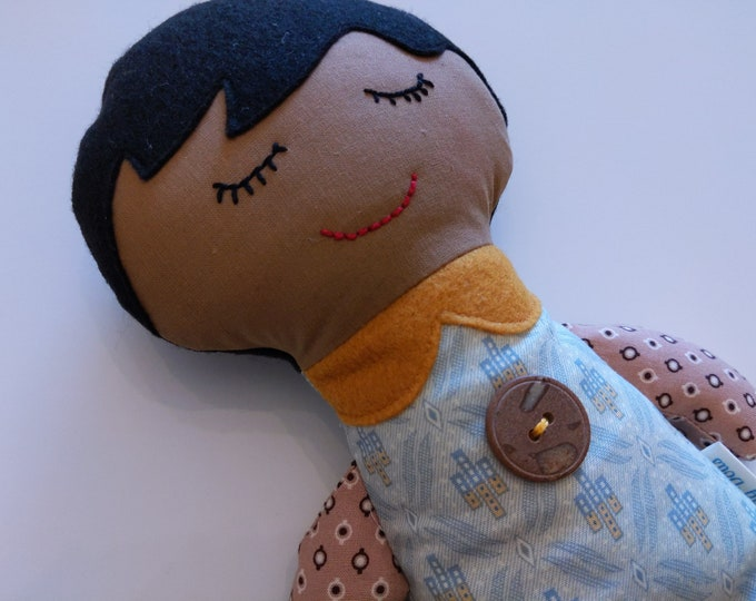 Baby doll, boy doll, ethnic doll, soft doll for boy, brown skin doll, black hair doll, baby doll for boy