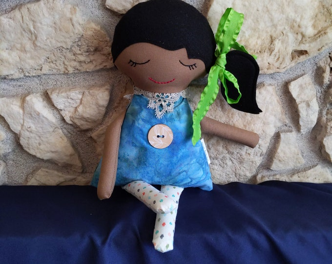 stuffed girl doll, brown skin doll, soft doll for girl, black hair doll, ethnic girl doll, fabric doll for girl, Darling Dolls