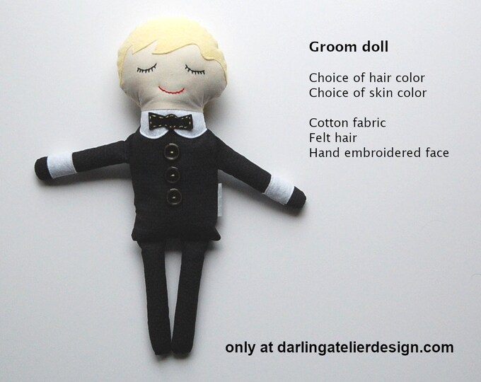 Groom doll, handmade groom doll, made to order groom doll, stuffed boy doll, custom doll, Darling Dolls