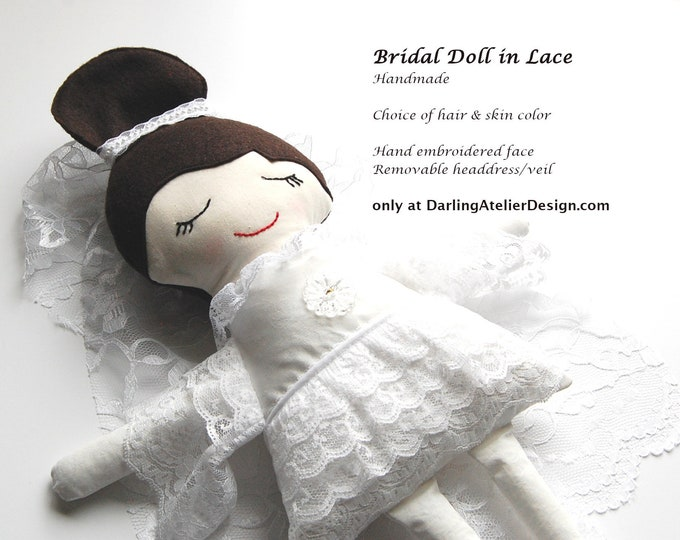Bride doll, handmade bride doll, made to order bridal doll, stuffed girl doll, custom fabric bride doll, Darling Doll