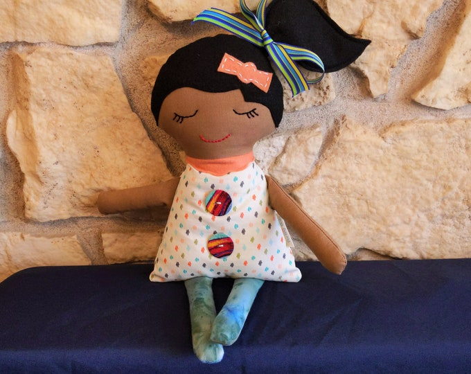 girl doll, brown skin doll, doll for girl, black hair doll, ethnic girl doll, fabric doll for girl, Darling Dolls