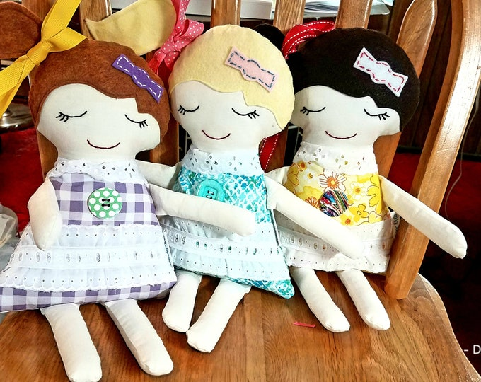 dolls made to order, custom dolls, fabric dolls, special order dolls, dolls for girls, dolls for boys, Darling Dolls