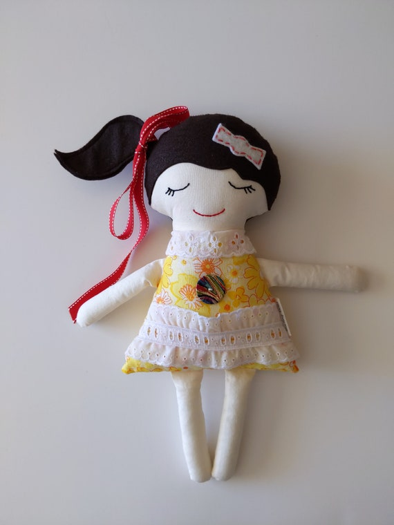 stuffed girl doll, soft doll for girl, brown hair doll, young girl doll, calico doll, fabric doll for girl, Darling Dolls