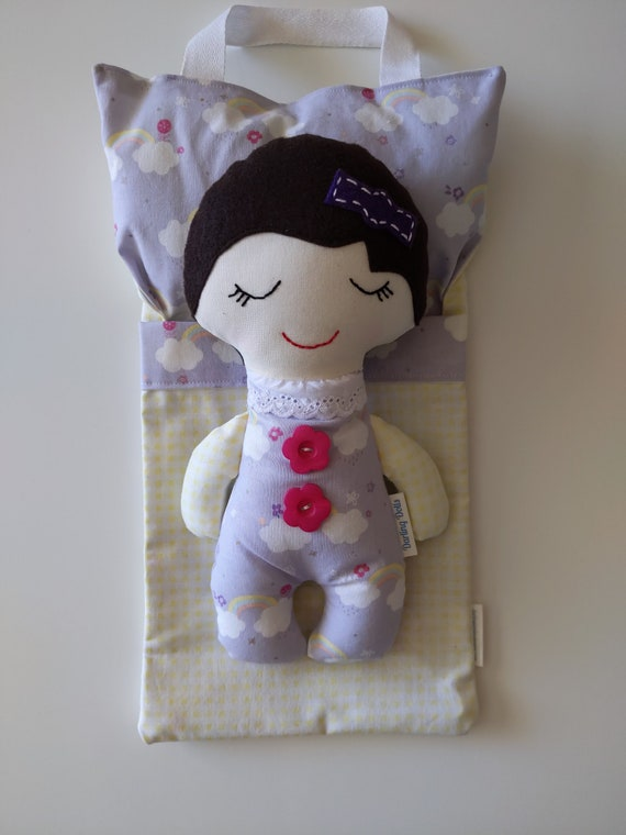 Baby doll, baby doll bed, brown hair doll, purple doll, baby doll sleeping bag, Darling Dolls