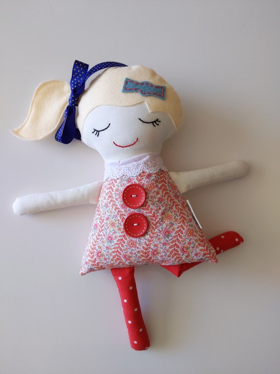 Girl doll, soft doll for girl, blonde hair doll, strawberry blonde, stuffed doll, calico doll, fabric doll for girl, Darling Dolls