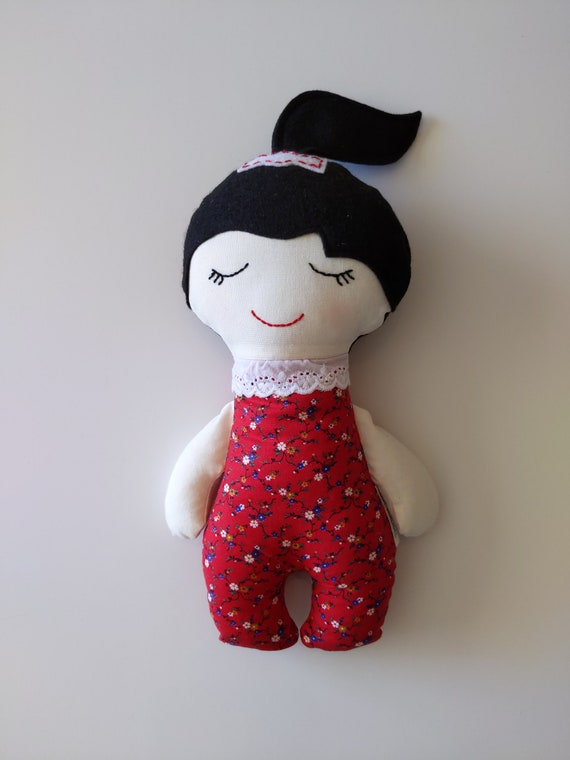 Baby doll, black hair doll, fabric doll, calico doll, fabric girl doll, baby doll, Darling Dolls
