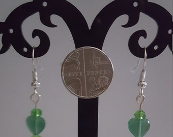 Green Heart & Swarvoski Crystal Shepherd Hook Earrings