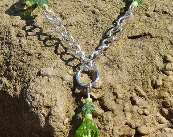 Rosary Style 22in (56cm) Silver Plated Swarovski Peridot Crystal Necklace