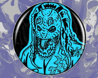 Kofi Kingston 1-2.25 Button  Custom Wrestler Pin Blackwork Line Art