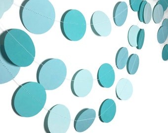 Party Decorations - Birthday Decorations - Birthday Party - Mermaid Birthday - Ombre Garland - Blue Ombre Garland - Circle Garland - 10 Feet