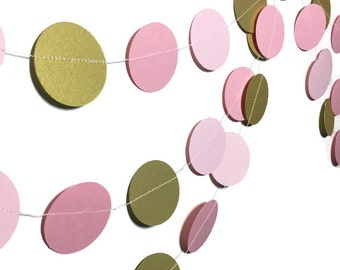 Party Decorations - 1st Birthday Party Decorations - Pink Ombre Circle Garland - Princess Birthday - Pink and Gold Circle Garland - 10 Feet