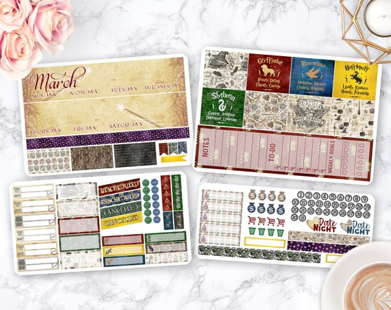 Wizarding Library Monthly Sticker Kit Pick your Month /& Start Day Vertical EC Life Planner UK Planner Stickers