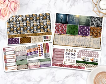 Month Sticker Kit / Halloween stickers / Planner Stickers / Erin Condren / Happy Planner / Life Planner / Weekly Spread / Passion Planner