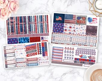 Month Sticker Kit / Patriotic stickers / Planner Stickers / Erin Condren / Happy Planner / Life Planner / Weekly Spread / Passion Planner