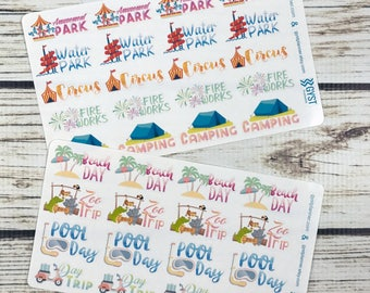Summer Activity Stickers / Summer Stickers / Fits Erin Condren Planners, Happy Planners, Passion Planners & more! / Calendar Stickers