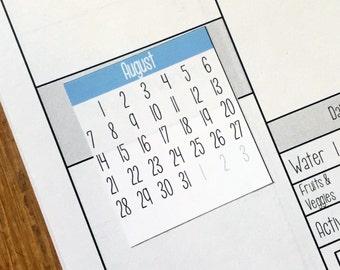 Mini-month planner stickers /  Fits Erin Condren Planners, Happy Planners, Passion Planners & more! / Calendar Stickers