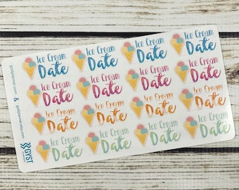 Ice Cream Stickers / Date stickers / Fits Erin Condren Planners, Happy Planners, Passion Planners & more! / Calendar Stickers