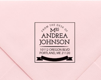 Personalized Self Inking Return Address Stamp, Custom Rubber Stamp, New Home Gift, Monogram Stamp, Wood Block, Modern Return Address 613