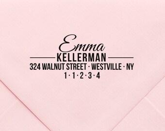 Personalized Self Inking Return Address Stamp, Custom Rubber Stamp, New Home Gift, Monogram Stamp, Wood Block, Modern Return Address 700