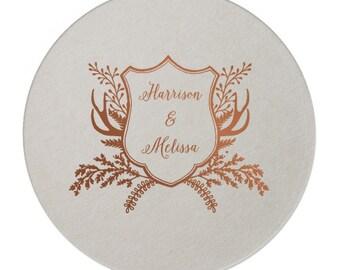 Wedding Coasters, Personalized Coasters, Custom Coaster, Drink Coaster, Bar Coaster, Wedding Favors, Gold Foil Coaster, Name Coaster 290