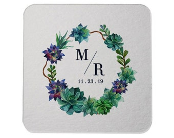 Custom Coaster, Wedding Coaster, Succulent Monogram,Personalized Coaster, Bar Coaster, Floral Wedding Favors, Choose your design