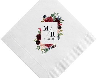 Full Color 3 Ply Beverage Napkins, Chose your florals, monogram & Color - Cake Napkins, Monogrammed Wedding Napkins, Bridal Shower Napkin