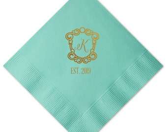 Custom Beverage Napkins, Bar Napkins, Personalized Foil Napkins, Monogrammed Wedding Napkins, Bridal Shower Napkins, Cocktail Napkin 284