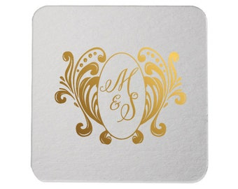Custom Coasters, Wedding Coasters, Rose Gold Foil, Personalized Coasters, Party Coasters, Wedding Favor, Bridal Shower, Party Favor 288