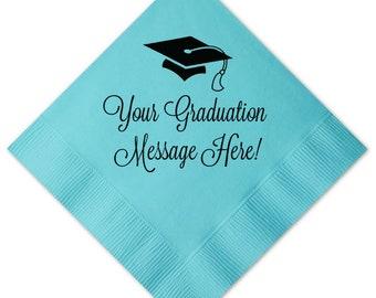 Graduation Napkins, Custom with name, message, colors, class of 2019, Graduation Party, Congrats Grad, Cocktail Napkins, Party Napkins, 221