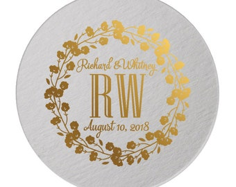 Custom Wedding Monogram, Drink Coasters, Wedding Coasters, Custom Favors, Gold Foil, Wedding Favors, Personalized Favors, Bar Coasters 296