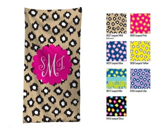 Monogramed Beach Towel / Custom Pool Towel / Personalized Beach Towel // Custom Monogram Hostess Gift / Leopard Print