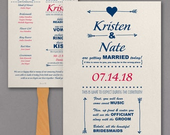 Wedding Program Fan / Personalized Fan Program / Wedding Fan / Vintage Wedding Wedding Sign Wedding Stationery Day of Stationery