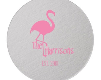 Monogram Personalized Coasters, Coaster, Pink Flamingo, Drink Coaster, Tropical Wedding, Bar Coaster, Wedding Coaster Many Colors 292