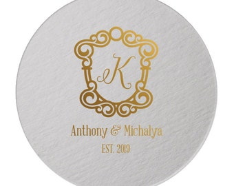 Personalized Custom Coasters, Wedding Coasters, Party Coasters, Wedding Favors, Printed Coasters, Personalized Coaster, Rose Gold Foil 284