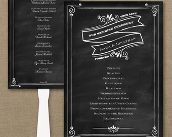 Wedding Program Fan / Personalized Fan Program / Wedding Fan / Chalkboard Wedding Wedding Sign Wedding Stationery Day of Stationery
