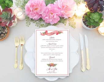 Eliza Wedding Wedding Reception Menu / Personalized Reception Menus / Custom Dinner Menu / Wedding / Vintage Wedding