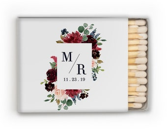 monogrammed matchbook, reception matches, wedding matches, sparkler send off matchbox, reception match book, cigar bar, matchbook, favor 341