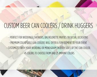 Beer Can Cooler, Drink Hugger, Custom Can Cooler, Wedding Favor, Drink Sleeve
