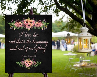 Instant Download Chalkboard Wedding I love Her Gatsby Sign / Chalkboard Wedding / I love Her // Instant Download / Vintage Wedding
