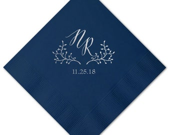 Wedding Napkins, Gold Foil Napkins, Custom Wedding Monogram, Bar Napkin, Wedding Favors, Cocktail Napkins, Monogrammed Wedding Napkins 285
