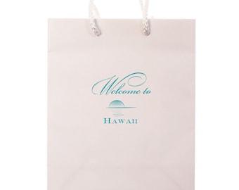 Custom Hotel Wedding Welcome Bags, Hawaii Wedding Bag, Personalized Gift Bags, Custom Wedding Weekend Bags for Guests, Favor Bag 133