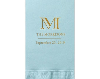 Personalized Guest Towels Bathroom Restroom Hand Towels Dinner Napkins Wedding Paper Hostess Gift Monogram customize your colors 307