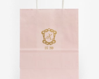 Personalized Hotel Welcome Bags, Custom Wedding Weekend Gift Bags, Foil Printed Bags, Out of Town Wedding Guest Bag, Favor Bag, Tote Bag 284
