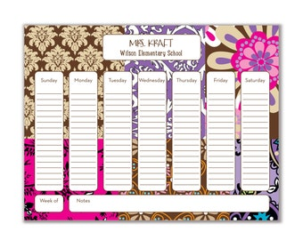 Custom Desk Calendar. Desk Pad. Deskpad. Notepad. Weekly Notepad. Weekly To Do List. Personalized notepad. Monogram. Preppy. Teacher