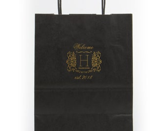 Personalized Hotel Welcome Bags, Custom Wedding Weekend Gift Bags, Foil Printed Bags, Out of Town Wedding Guest Bag, Favor Bag, Tote Bag 299