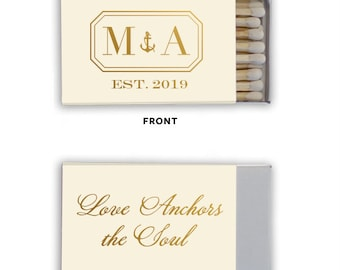 Monogrammed Wedding Matches, Personalized Wedding Matches, Custom Matchbook Wedding Monogram Favors, Custom Printed Matches, matchbook 268